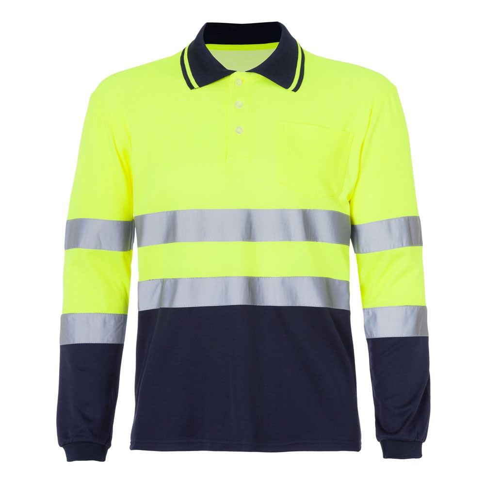 3adbe383911 Polo Alta Visibilidad, bicolor, doble cara, manga larga, 1 bolsillo con  velcro en el pecho, cuello contraste, transpirable en sisa, puño elástico.  2 Bandas ...
